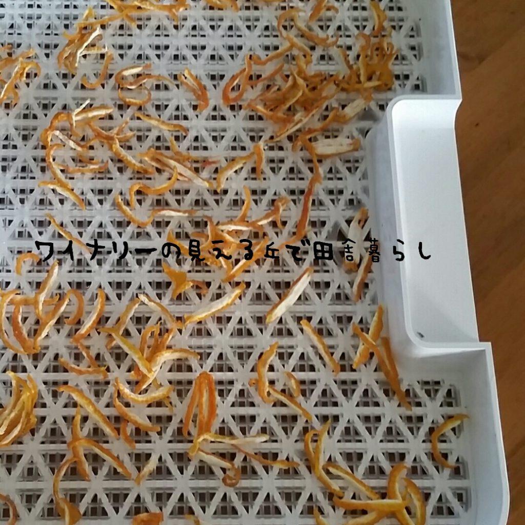 柚子の皮と大根の葉を食品乾燥機にかける